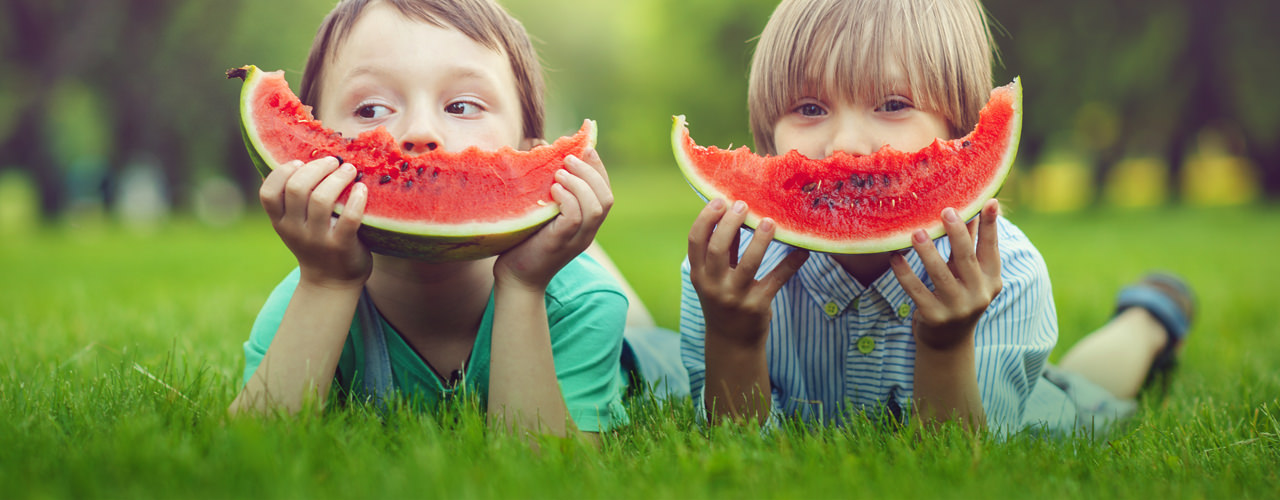 Two small children lying on their stomach's in the grass, holding giant slices of watermelon in front of their mouths